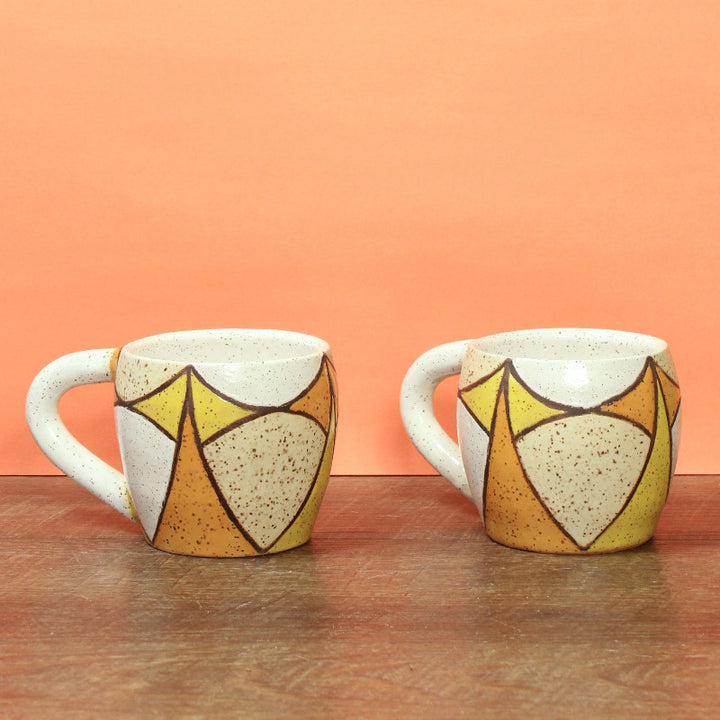 Glazed Stoneware Mug with Mid Century Pattern
