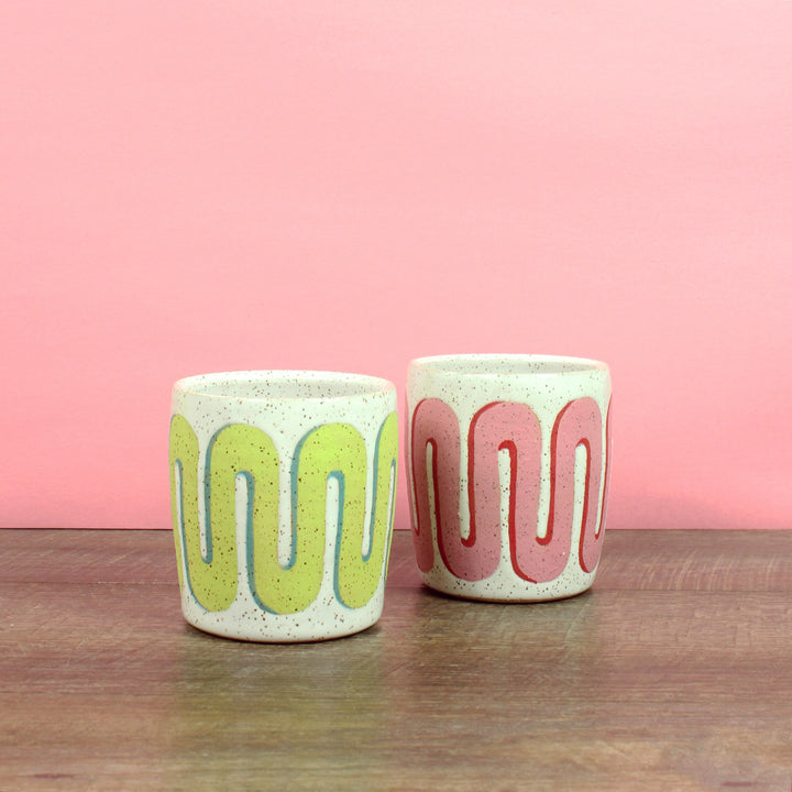 Glazed Stoneware Tumblers with Chunky Arch Pattern