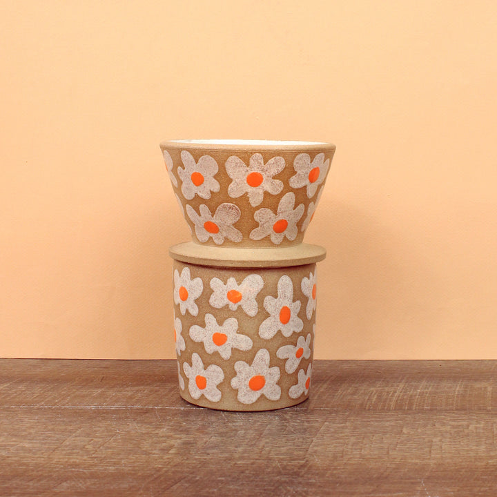 Glazed Stoneware Pour-Over/Tumbler Set with Flower Pattern
