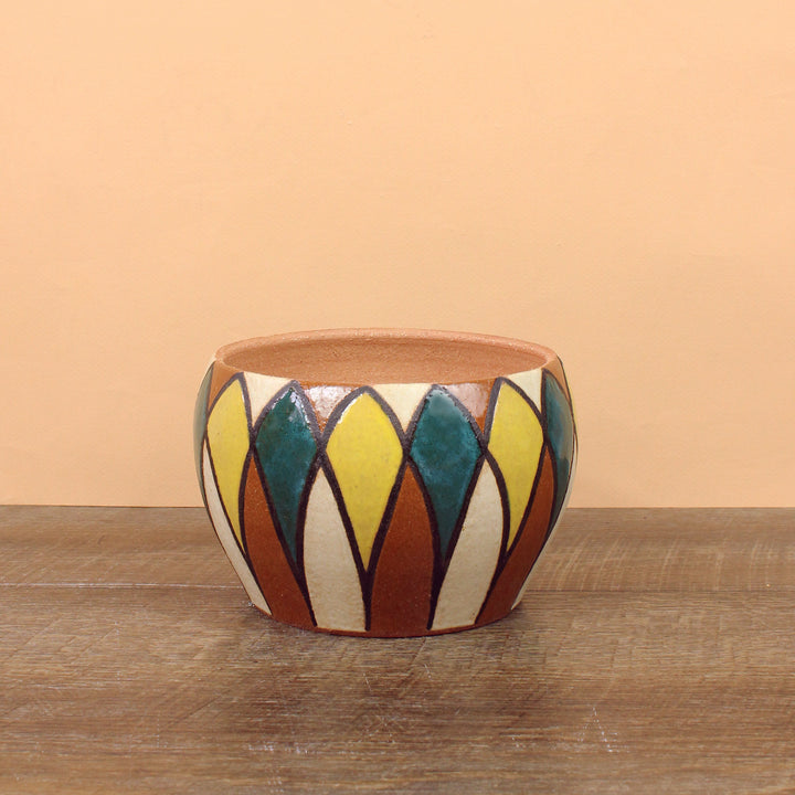 Glazed Stoneware Pot with Mid Century Pattern