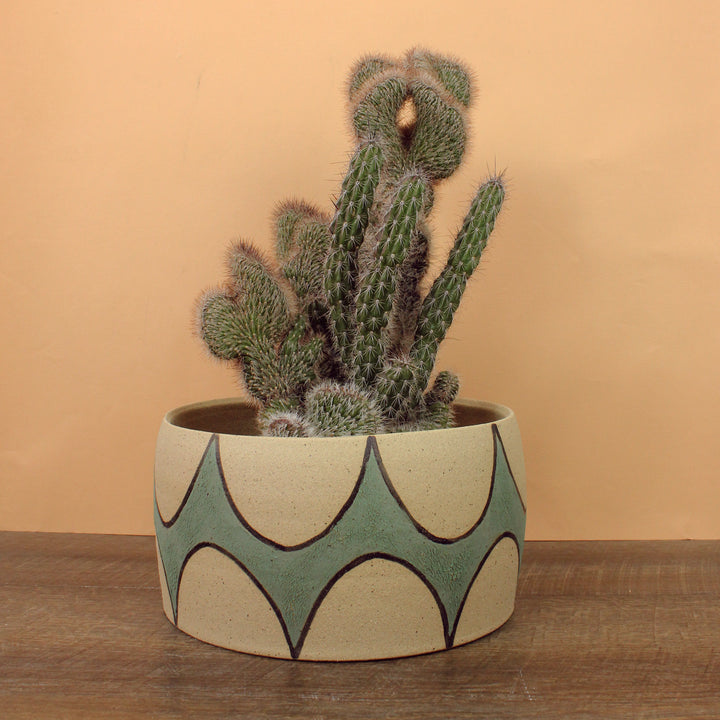 Glazed Stoneware Pot with Arch Pattern