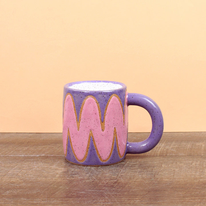 Glazed Stoneware Mug with Wave Pattern