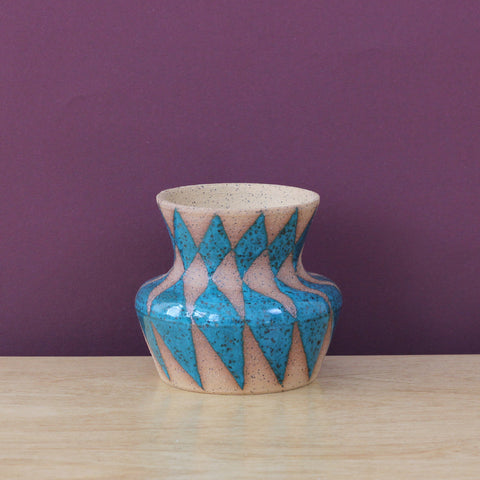 Stoneware Bud Vase with Diamond Pattern