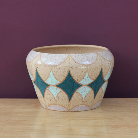 Glazed Stoneware Pot with Stardust Pattern