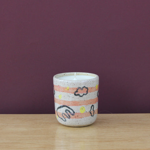 Glazed Stoneware Vessel with Soy Candle