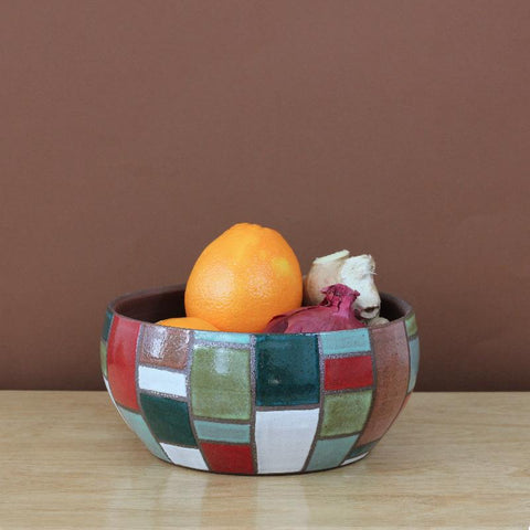 Glazed Stoneware Bowl with Brick Pattern