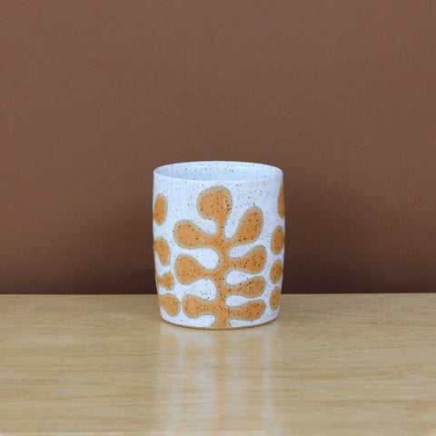 Glazed Stoneware Tumbler with Leaf Pattern