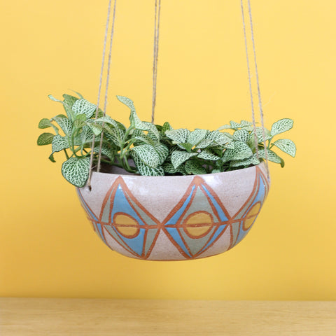 Glazed Stoneware Hanging Pot with Diamond Pattern