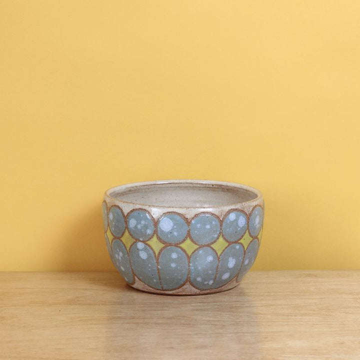 Glazed Stoneware Bowl with Mid Century Pattern