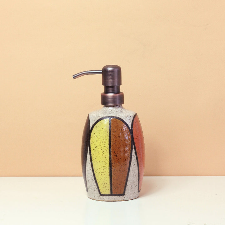 Glazed Stoneware Soap Dispenser with Mid Century Pattern (MTO)
