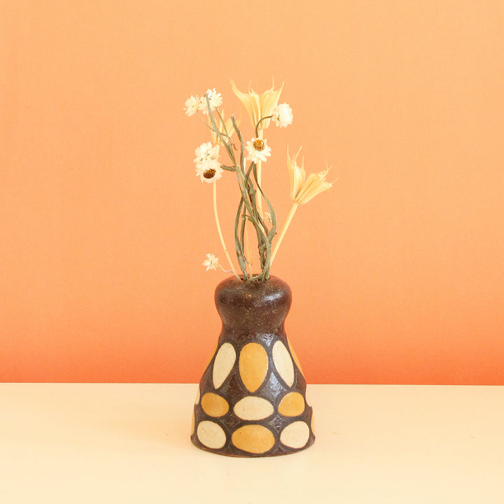 Glazed Stoneware Bud Vase with Oval Pattern