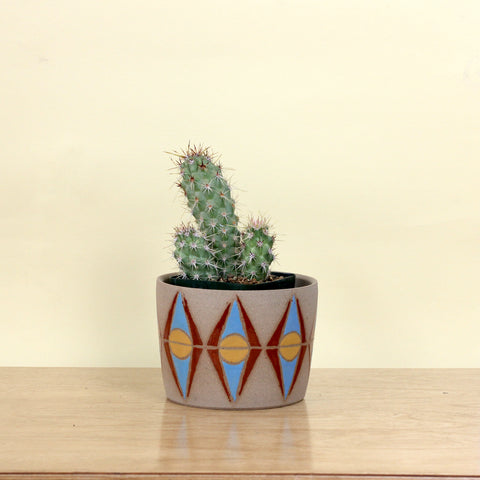 Glazed Stoneware Pot with Diamond Pattern