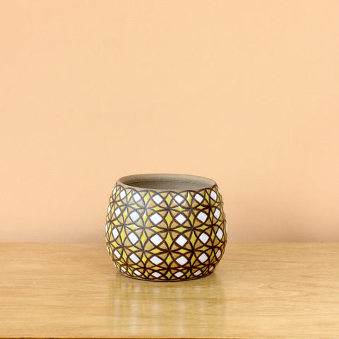 Glazed Stoneware Pot with Kaleidoscope Pattern