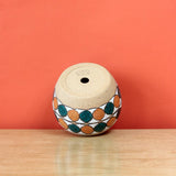 Glazed Stoneware Pot with Overlapping Circle Pattern