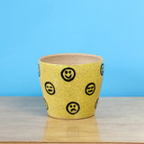Glazed Stoneware Pot with Smiley Pattern