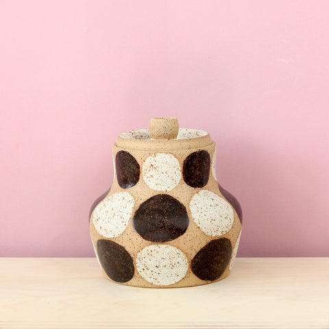 Glazed Stoneware Jar with Dot Pattern