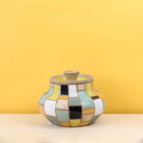 Glazed Stoneware Jar with Brick Pattern