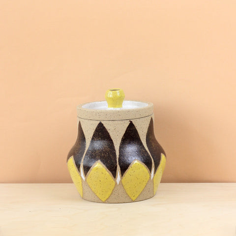 Glazed Stoneware Jar with Bisected Almond Pattern