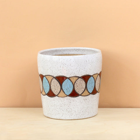 Glazed Stoneware Pot with Overlapping Circles