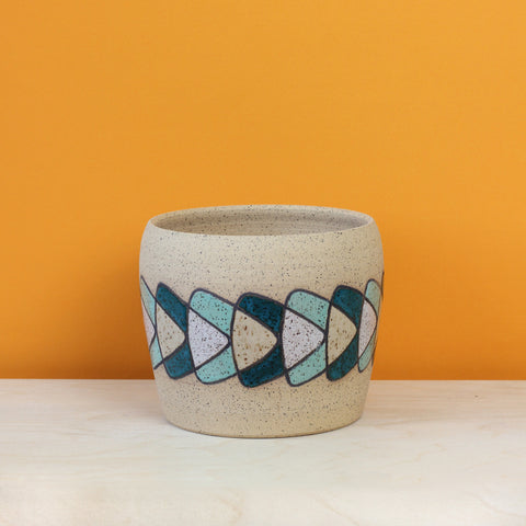 Glazed Stoneware Pot with Boomerang Pattern