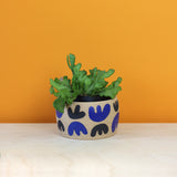 Glazed Stoneware Pot with Abstract Leaf Pattern