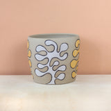 Glazed Stoneware Pot with Leaf Pattern