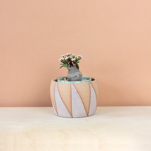 Glazed Stoneware Pot with Triangle Pattern