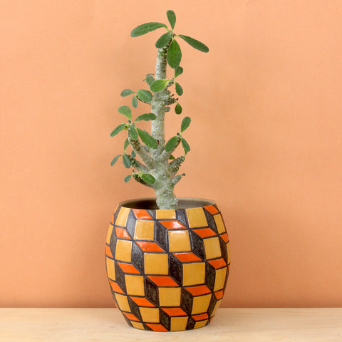 Glazed Stoneware Pot with Cube Pattern