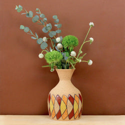 Glazed Stoneware Vase with Boomerang Pattern