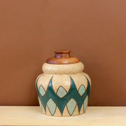 Glazed Stoneware Jar with Mid Century Pattern