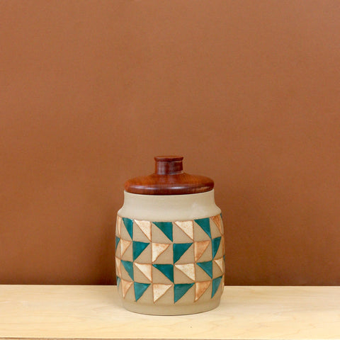 Glazed Stoneware Jar with Triangle Pattern