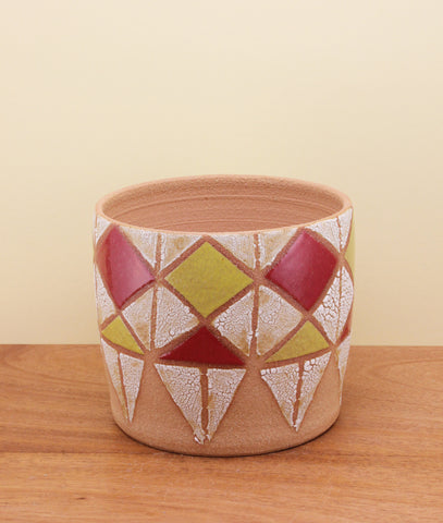 Stoneware Vessel with Diamond Pattern