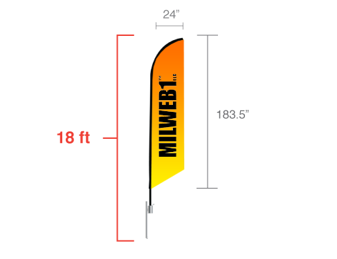 18' Feather Angled Flag - Milweb1