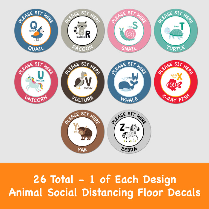 Please Sit Here - Animal School 26 Pack - Social Distancing Floor Decal - Milweb1