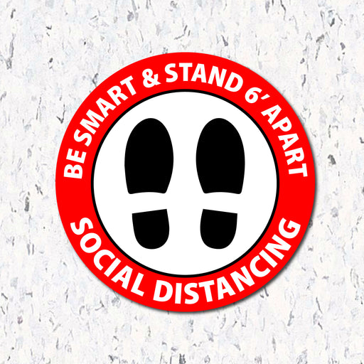 Be Smart & Stand 6' Apart - Social Distancing Floor Decal - Milweb1