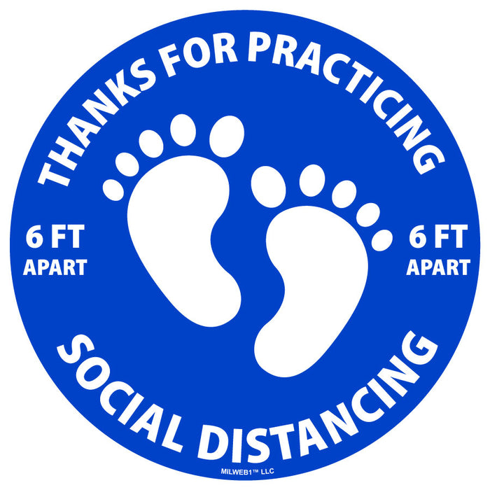 Thanks For Practicing Social Distancing with Feet Floor Decals - Milweb1