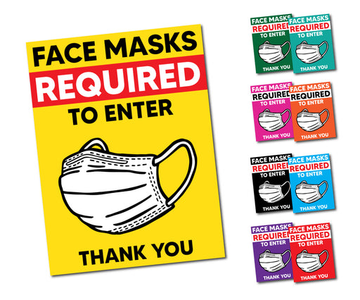 "Face Mask Required To Enter Window Decal 7.5"" X 10"" - Milweb1"