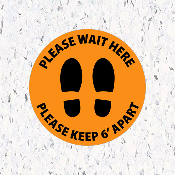 Social Distancing Floor Decals - Please Wait Here Stand 6' Apart - Milweb1