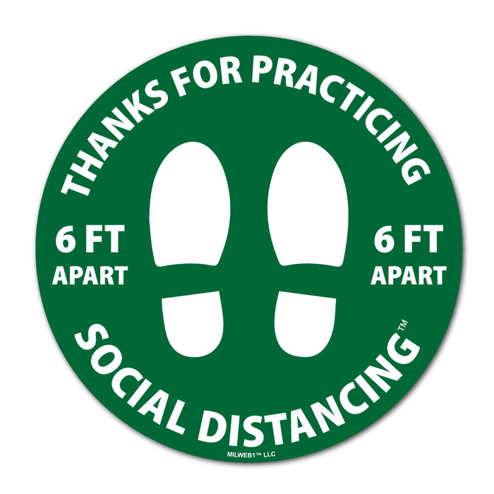 Social Distancing Floor Decals - Thanks For Practicing - Milweb1