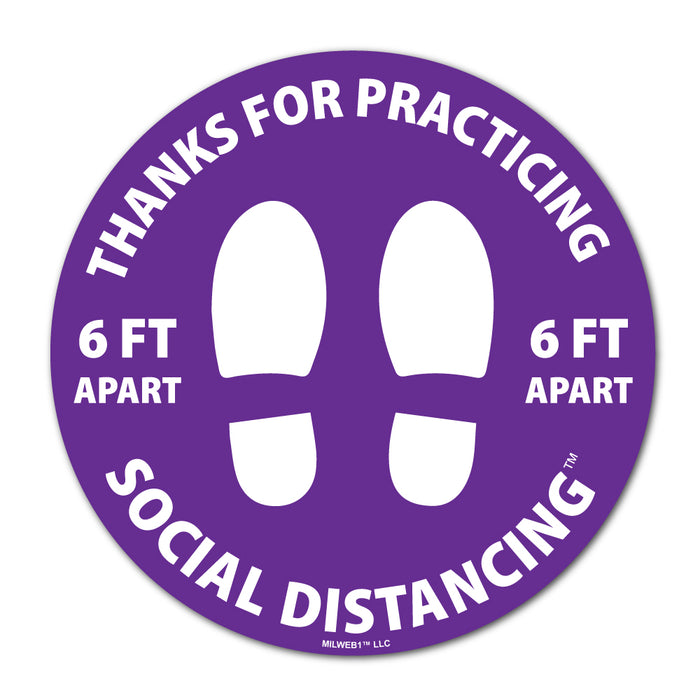 10 Pack - Thanks For Practicing Social Distancing Floor Decals - Milweb1