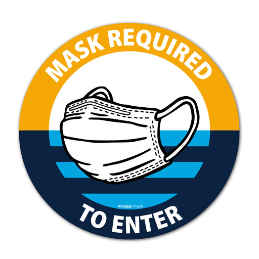 Milwaukee Flag Themed - Mask Required To Enter Window Decal - Milweb1