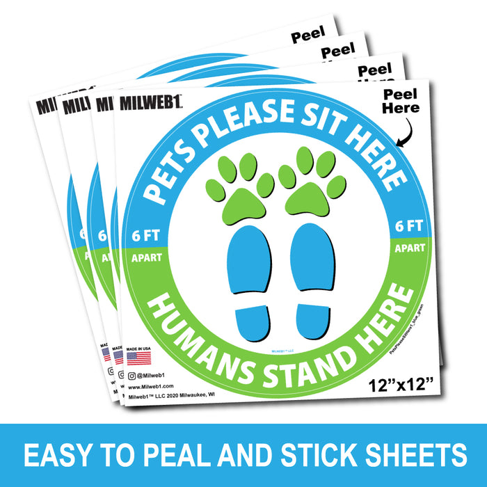 Pets Please Sit Here / Humans Stand Here - Floor Decals - Milweb1