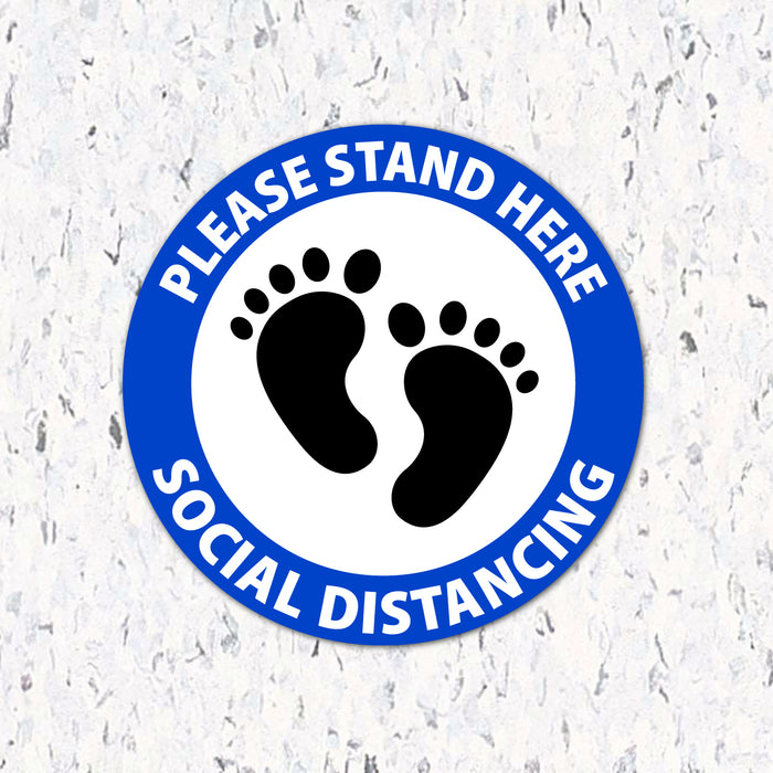 Please Stand Here Feet - Social Distancing Floor Decal - Milweb1