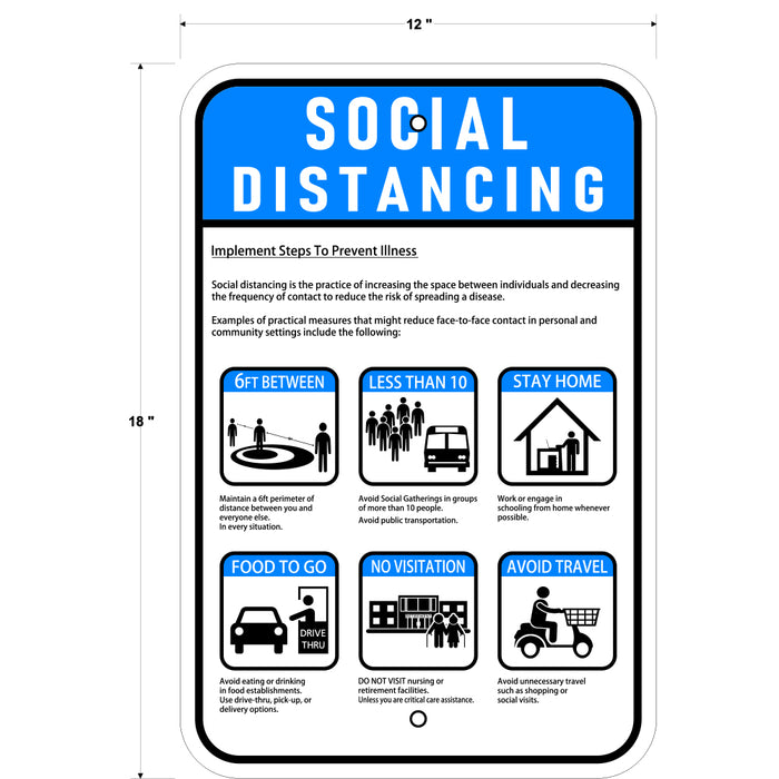 "Social Distancing Sign 12""x18"" - Milweb1"
