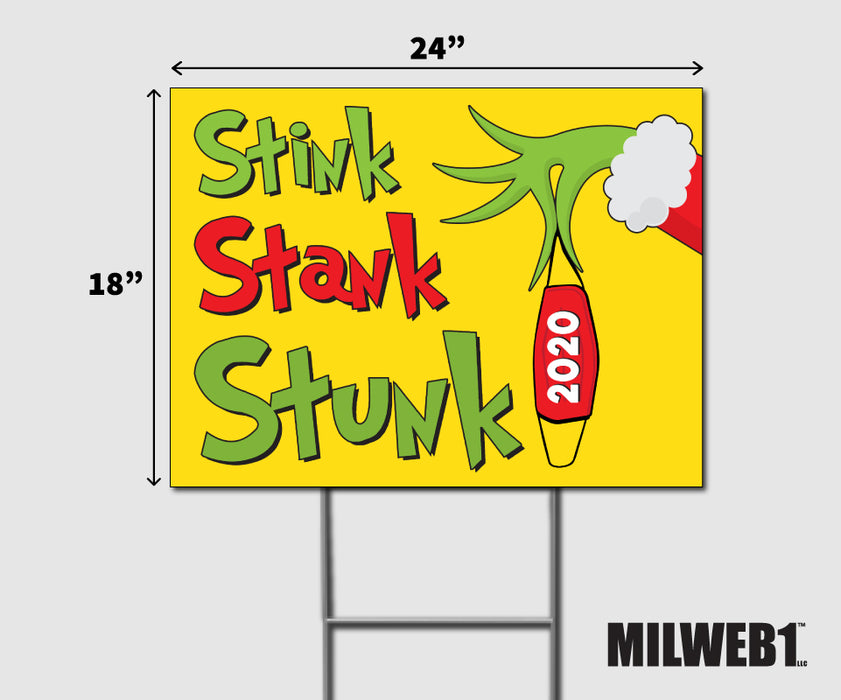 Stink Stank Stunk Double-Sided Yard Sign with Stake - Milweb1