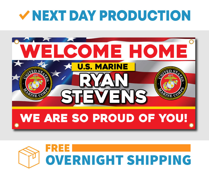 Welcome Home U.S. Marine Corps / United States Military Customizable - Vinyl Banner - Sign - Free Overnight Shipping - Milweb1