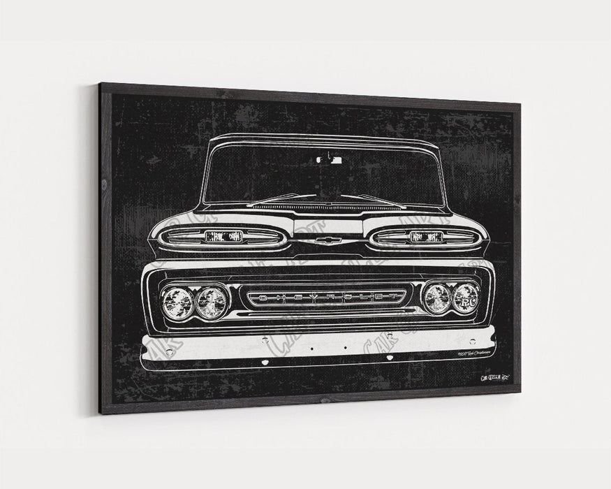 1961 C10 Chevrolet Chevy Truck CarGrilleArt TM | Sign Car Auto Man Cave Art Grill Garage Men Gifts Wall Decor Canvas Print