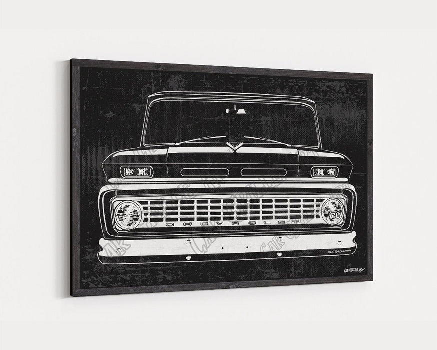 1963 C10 Chevrolet Chevy Truck CarGrilleArt TM | Sign Car Auto Man Cave Art Grill Garage Men Gifts Wall Decor Canvas Print