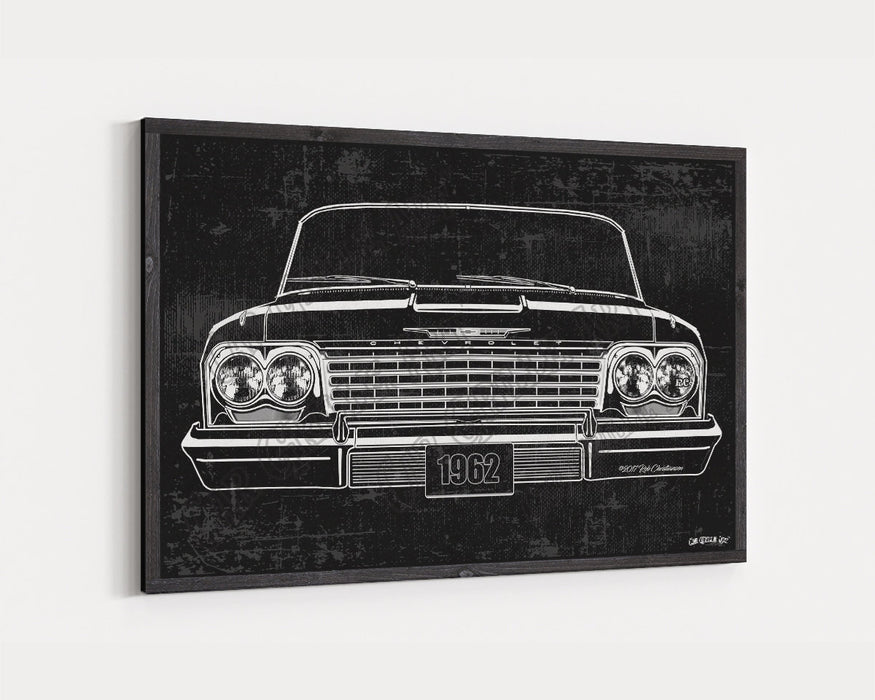 1962 Chevrolet Chevy Impala CarGrilleArt™ | Sign Car Auto Man Cave Art Grill Garage Men Gifts Wall Decor Canvas Print