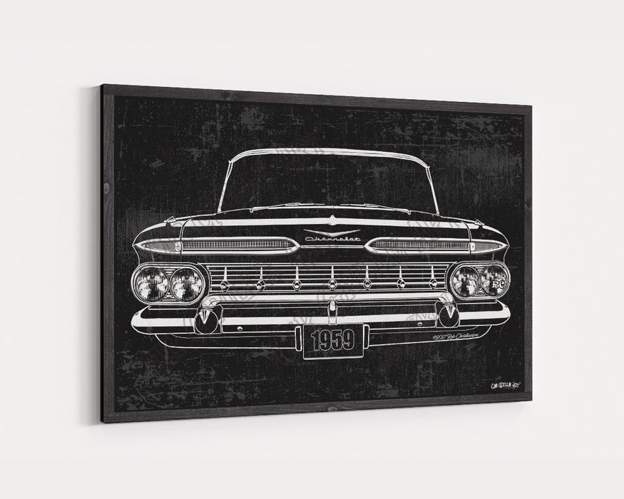 1959 Chevrolet Chevy Impala 283 CarGrilleArt™ | Sign Car Auto Man Cave Art Grill Garage Men Gifts Wall Decor Canvas Print